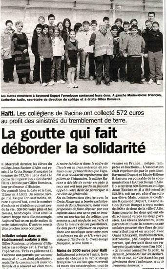 La Marseillaise solidarité Haiti